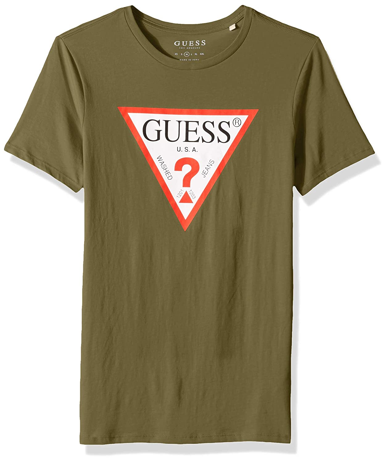 5c42ed5549b0 GUESS Mens Short Sleeve Triangle Logo T-Shirt T-Shirt: Amazon.ca: Clothing  & Accessories