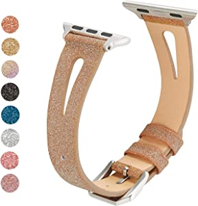 HAYUL Bling Bands Compatible with Apple Watch Band 38mm 40mm 42mm 44mm, Glitter Slim Leather Strap with Breathable Hole Replacement Wirstband for iWatch Series 5 4 3 2 1 Women (Rose Gold, 42mm/44mm)