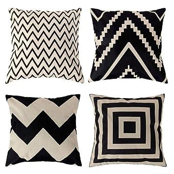 Berühmt 4 x Kissenbezug Schwarz Weiß Geometrie Muster Leinen Gedruckt XI05