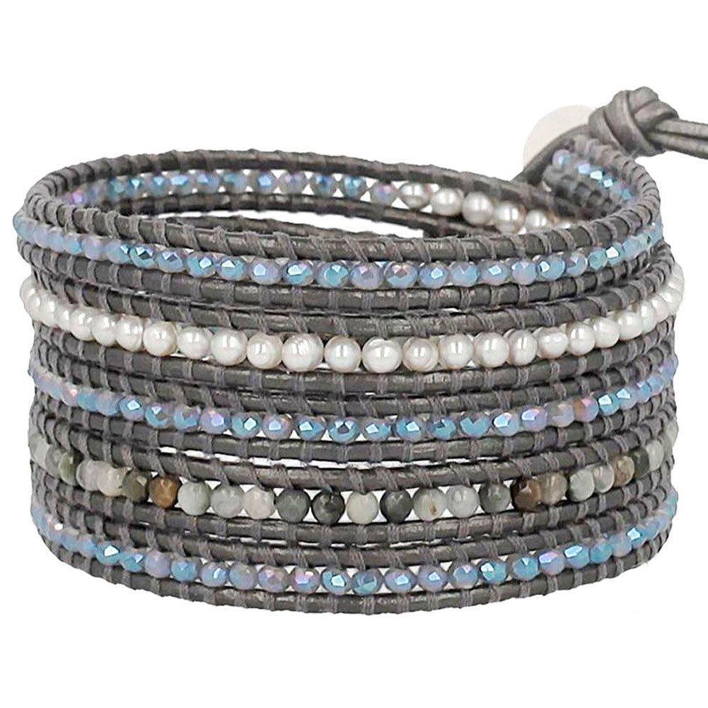 Chan Luu Mix Wrap Bracelet on Dark Grey Leather