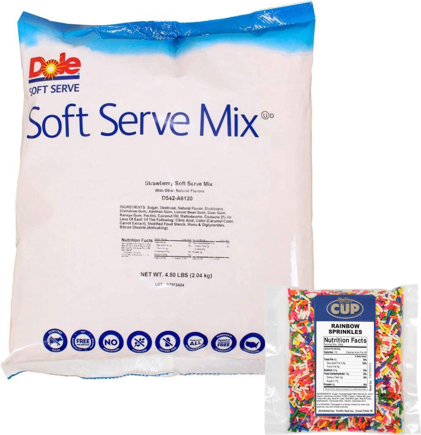 Dole Strawberry Lactose-Free Soft Serve Mix 4.5 Pound Bulk Bag with By The Cup Rainbow Sprinkles by By The Cup