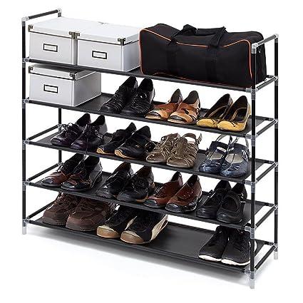 ASSICA 5 Tiers Shoe Rack Space Saving 25 Pairs Fabric Shoe / Toy Tower  Shelf Storage