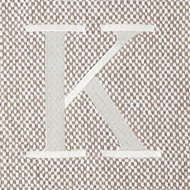 Mud Pie Woven Cotton Initial K Throw Blanket Taupe