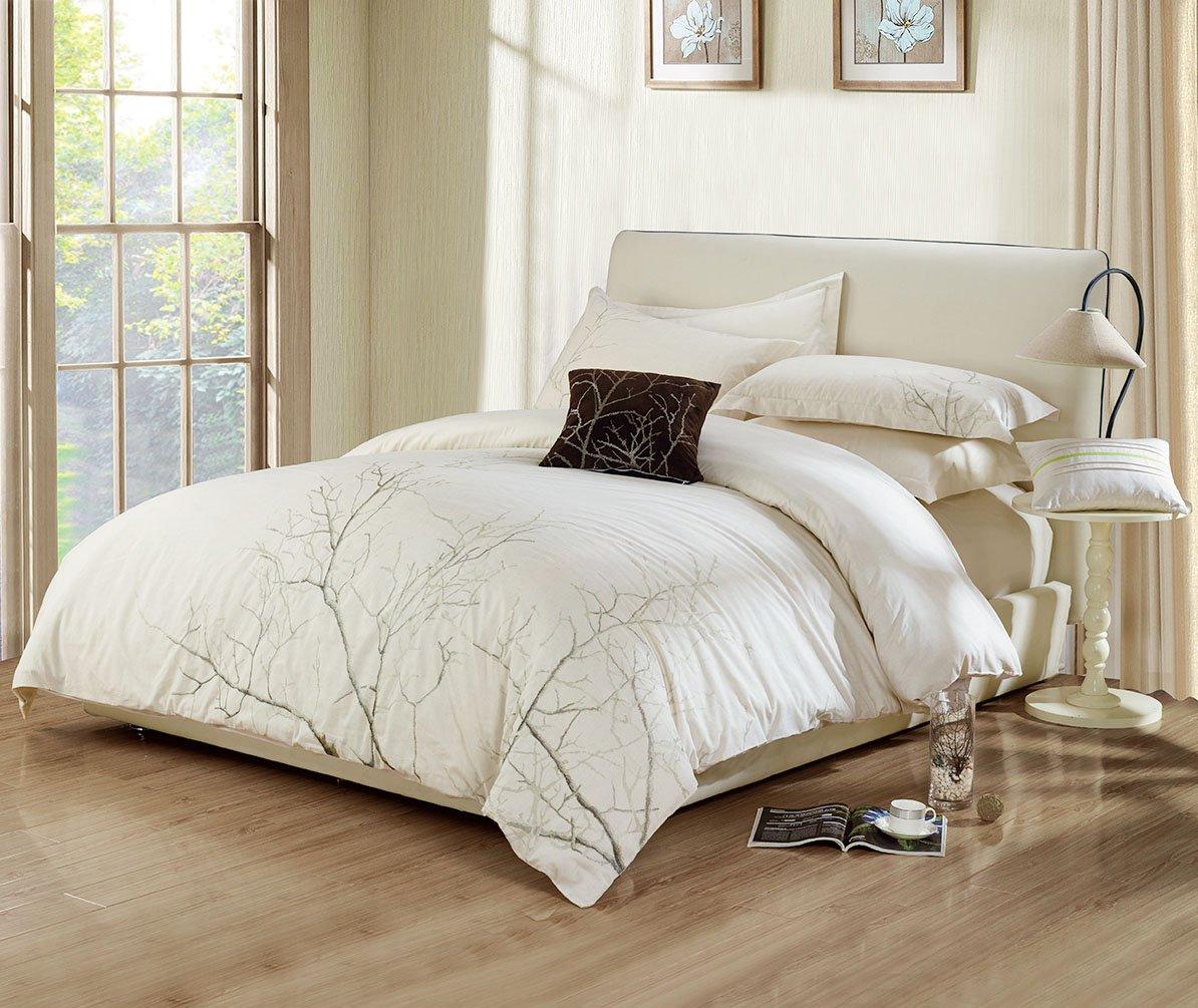 Tevel Ultra Silkyソフト3ピース羽毛布団カバーセット85 gsmマイクロファイバー豪華Cozy抗しわトップ品質寝具コレクション、お手入れ簡単、キング/クイーン King/ 104