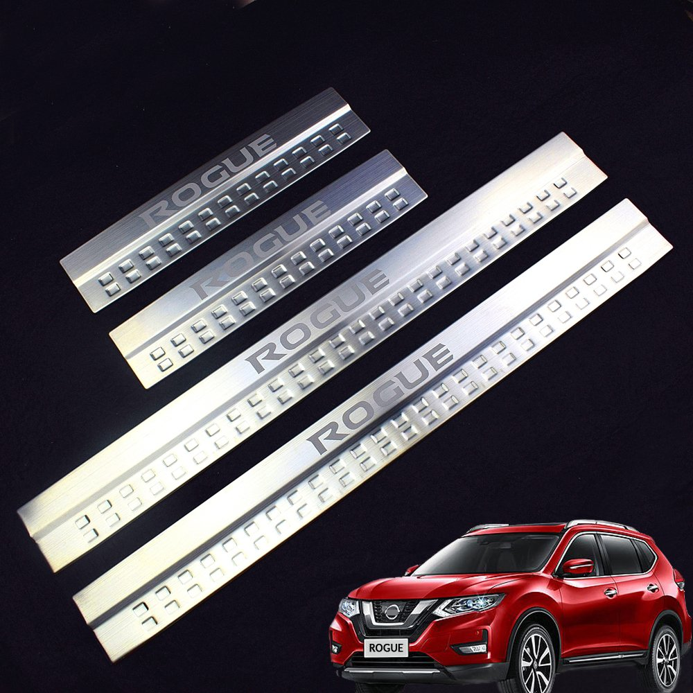 Car Stainless Steel Door Sill Scuff Plate Fit Nissan Rogue 2014-2018 Yingjie