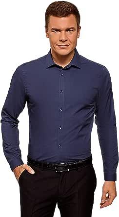 oodji Ultra Hombre Camisa Básica Entallada: Amazon.es: Ropa y accesorios
