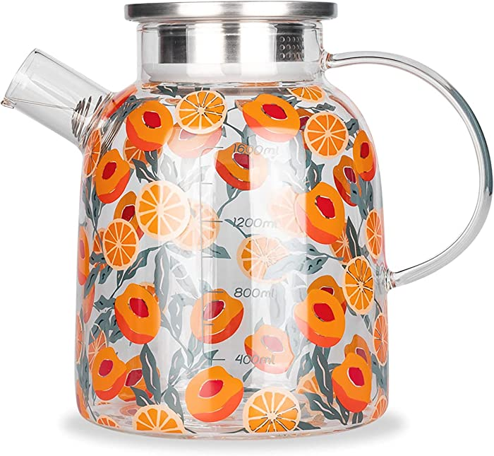 MDZF SWEET HOME Glass Pitcher with Stainless Steel Strainer Lid Water Carafe for Homemade Juice & Iced Tea Hot or Cold Water Jar, 54 Oz