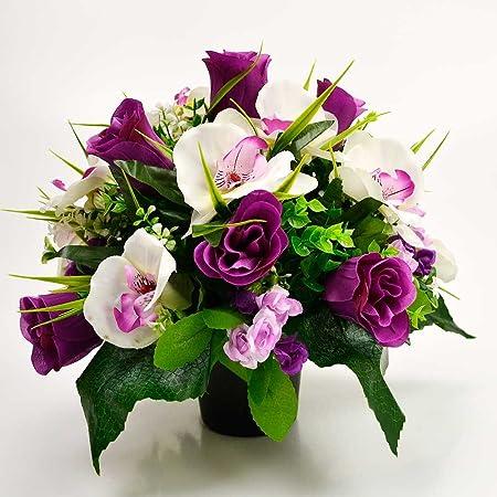 Angraves Birdy Artificial Flower Graveside Purple Rose Orchid Cemetery Memorial Arrangement Amazon Co Uk Kitchen Home