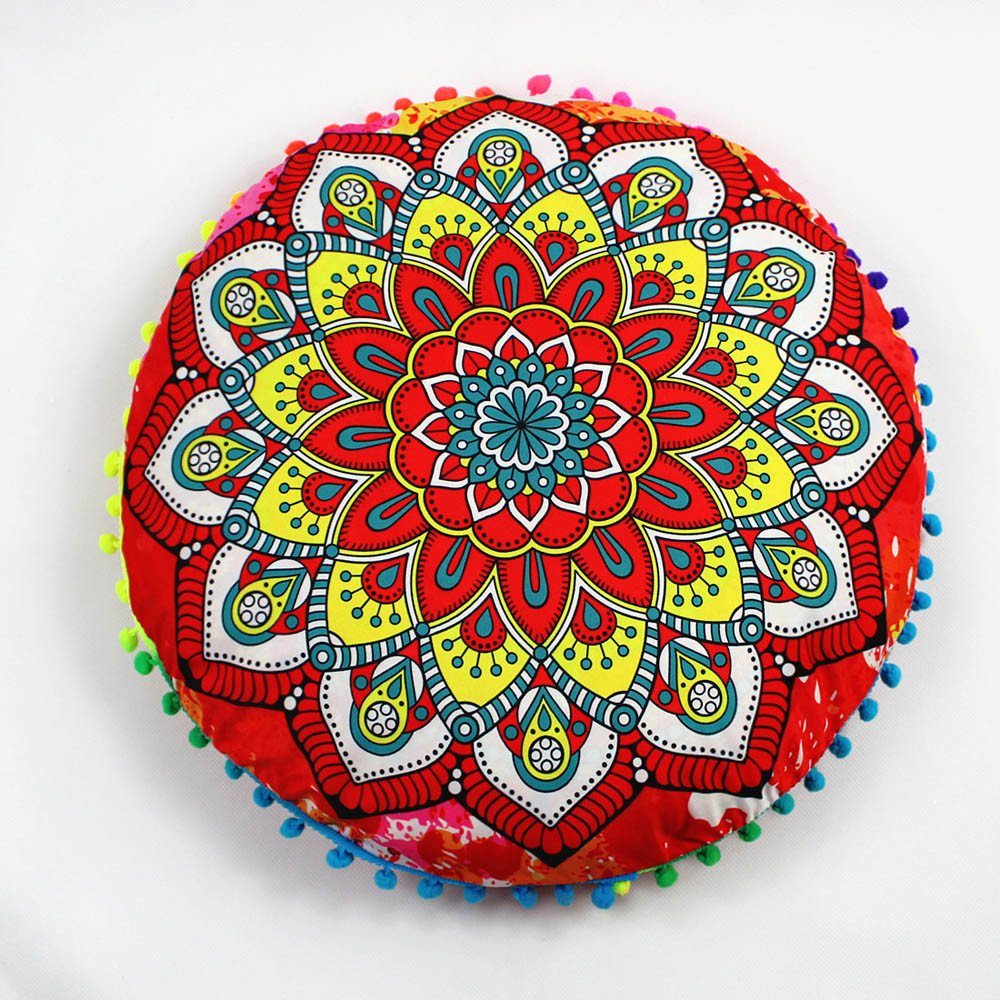 Weiliru Creative Designs Large Round Pillow Cover Decorative Mandala Pillow Sham Indian Bohemian Ottoman Poufs Cover Pillow Cases Outdoor Cushion Cover 43×43cm