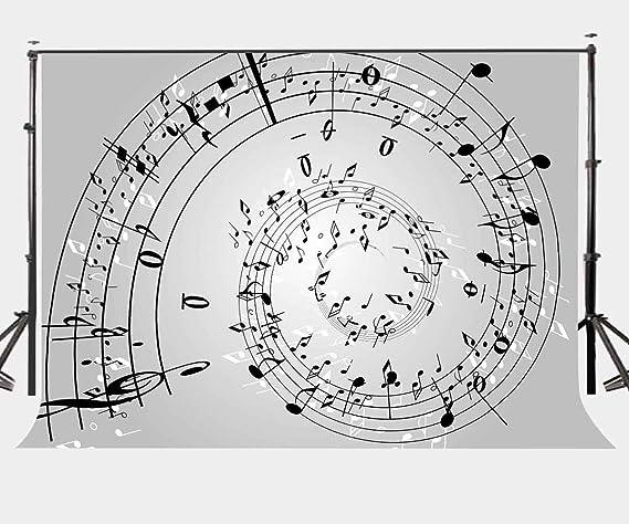LYLYCTY 7X5ft Music Doodle Backdrop Black and White Keys Music Theme Doodle Art Photography Backdrop Photo Studio Background Props LYP147