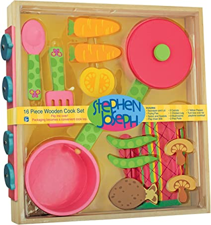 Stephen Joseph Kids Wooden Wood Stove Cook Play Food Preschool Butterfly Toy New