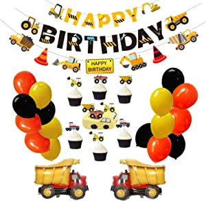 Construction Birthday Party Decoration for Boys Kids, Dump Truck Party Supplies Kits with Happy Birthday Banner, 1 Truck Garland, 17 Birthday Balloons, 24 Cupcake Toppers Decors