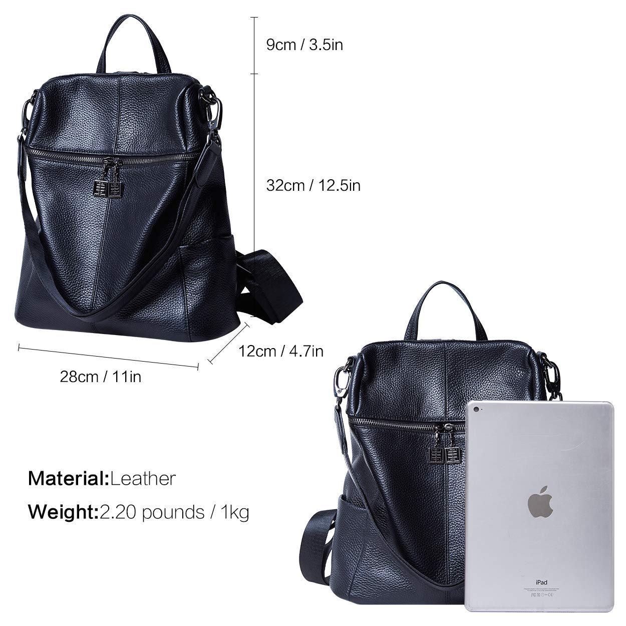 Amazon.com  BOYATU Convertible Genuine Leather Backpack Purse for Women  Fashion Travel Bag  Clothing 0aa86e1f5d20d