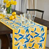 Couleur Nature Lemon Tree Runner, Tablecloth, 16-inches by 72-inches, Blue/Yellow