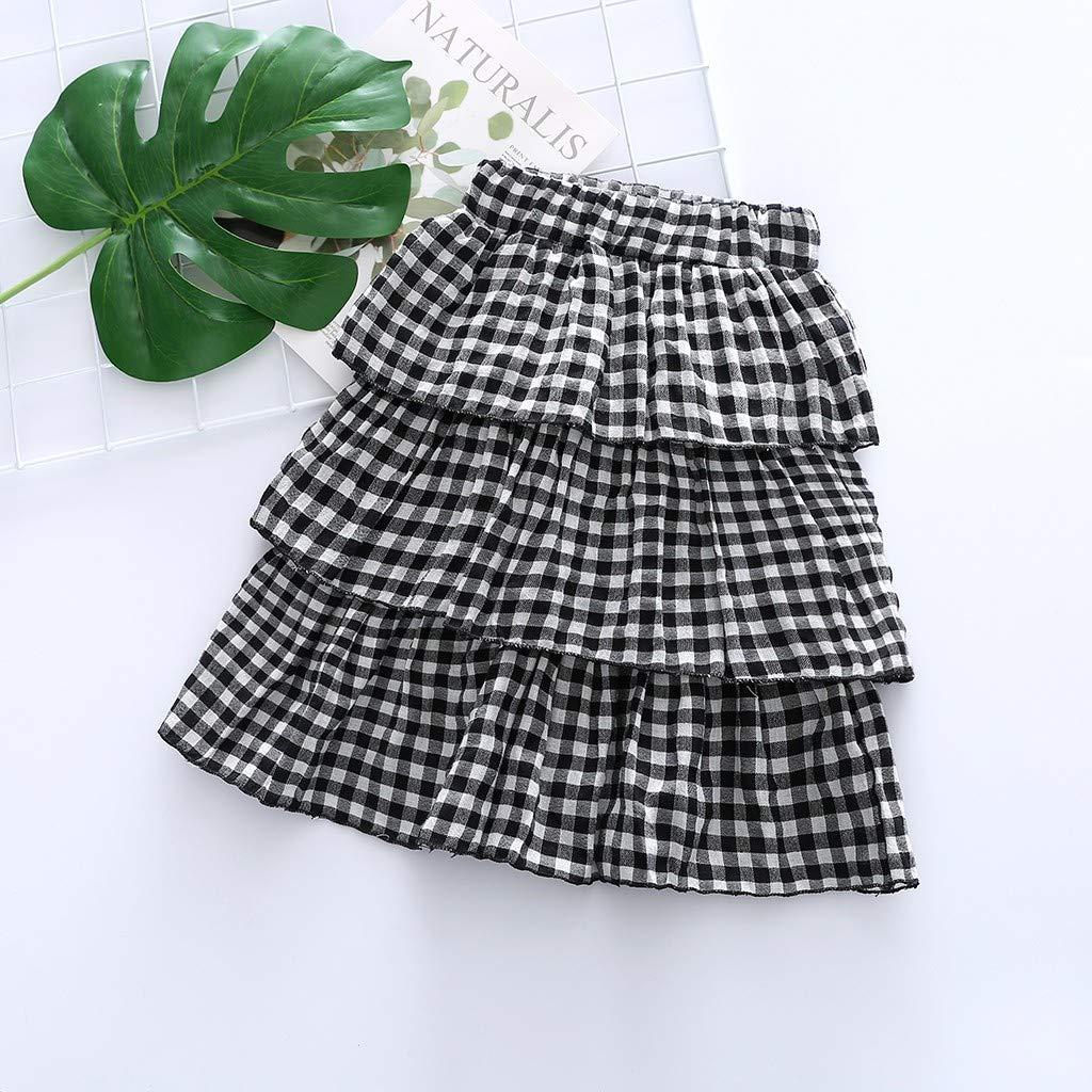 Summer Baby Girls Little Lass Plaid Short Skirt Layered Ruffle Elastic Waistband Ballet Dance Party Petticoat Pettiskirt