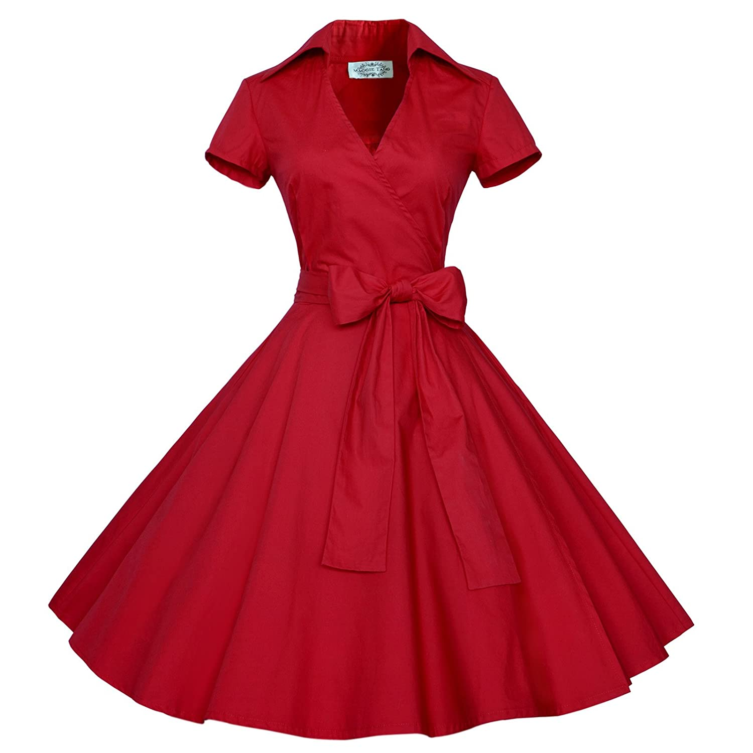 Maggie Tang 50s 60s Vintage Short Sleeves Swing Rockabilly Ball Party Dress