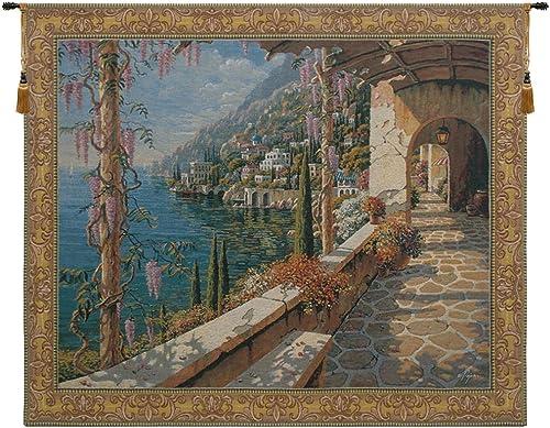 Charlotte Home Furnishing Inc. Belgian Tapestry Wall Hanging, 66 in. x 52 in, Villa in Capri