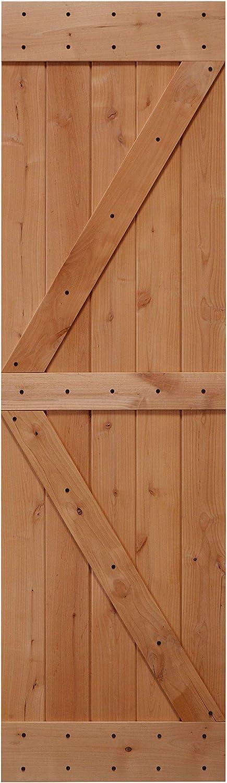 LUBANN 24 in. x 84 in. Rustic British-Brace Hardwood Barn Door Unfinished Knotty Alder Solid Wood Barn Door Slab