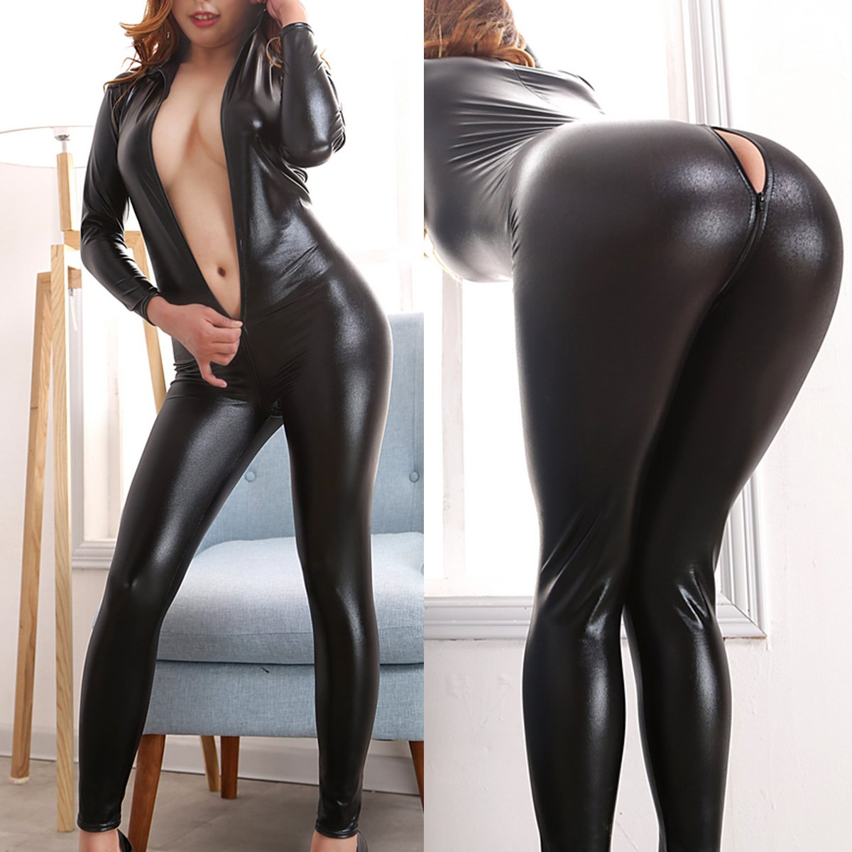 bbf5fa302 Amazon.com: IBTOM CASTLE Leather Jumpsuit Womens Catsuit Metallic Teddy  Gothic Fetish Bodysuit Lingerie Clubwear Party Costume: Clothing
