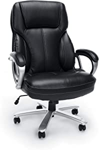 OFM Essentials Collection Big and Tall Leather Executive Office Chair with Arms, in Black
