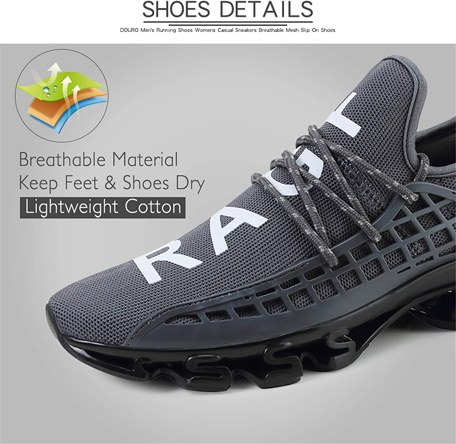 DUORO Mens Running Shoes Womens Casual Sneakers Breathable Mesh Slip on Blade Athletic Lightweight Tennis Sports Shoe for Men