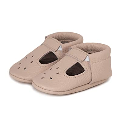 Toddlers Soft Sole Shoes for Boys and Girls Infants LittleBeMocs T-Strap Baby Moccasins Italian Leather Babies