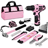WORKPRO 12V Pink Cordless Drill and Home Tool Kit, 61 Pieces Hand Tool for DIY, Home Maintenance, 14-inch Storage Bag Include
