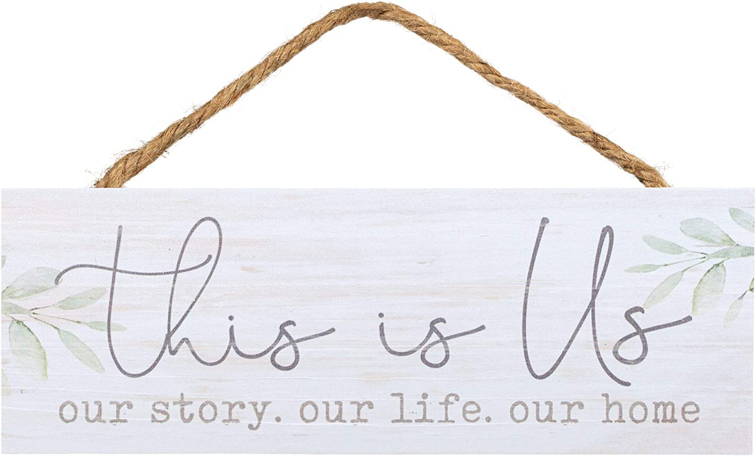 P. Graham Dunn This is Us Our Life Home Whitewash 10 x 3.5 Inch Pine Wood Slat Hanging Wall Sign