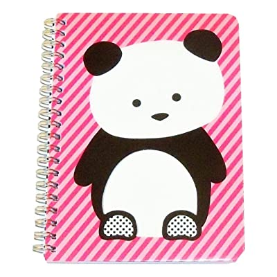 "Carolina Pad Studio C College Ruled The Hair of The Dog Spiral Notebook ~ Panda on Pink Stripes (5"" x 7""; 80 Sheets, 160 Pages): Toys & Games"