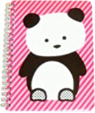 """Carolina Pad Studio C College Ruled the Hair of the Dog Spiral Notebook ~ Panda on Pink Stripes (8.5"""" x 10.5""""; 80 Sheets, 160 Pages)"""