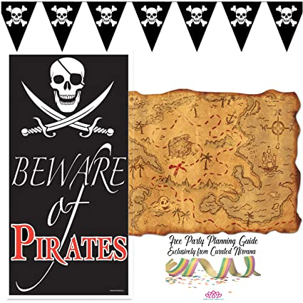 Amazon Com Curated Nirvana Pirate Beware Jolly Roger Door And