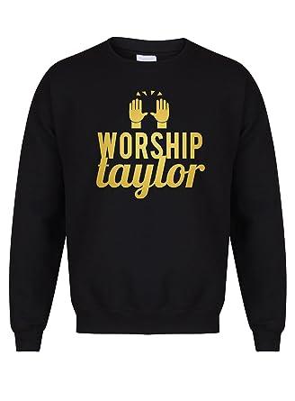 e74348b7 Kelham Print Unisex Slogan Sweater Jumper Worship Taylor Black Small with  Gold
