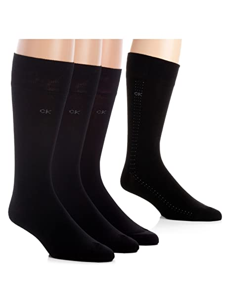 Calvin Klein Men's Crew Dress Socks - Bonus 4 Pack, Black, Large