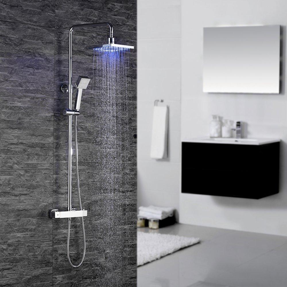 Homelody LED °C Termostatica Columna de ducha Hidroeléctrica Conjunto de Ducha con