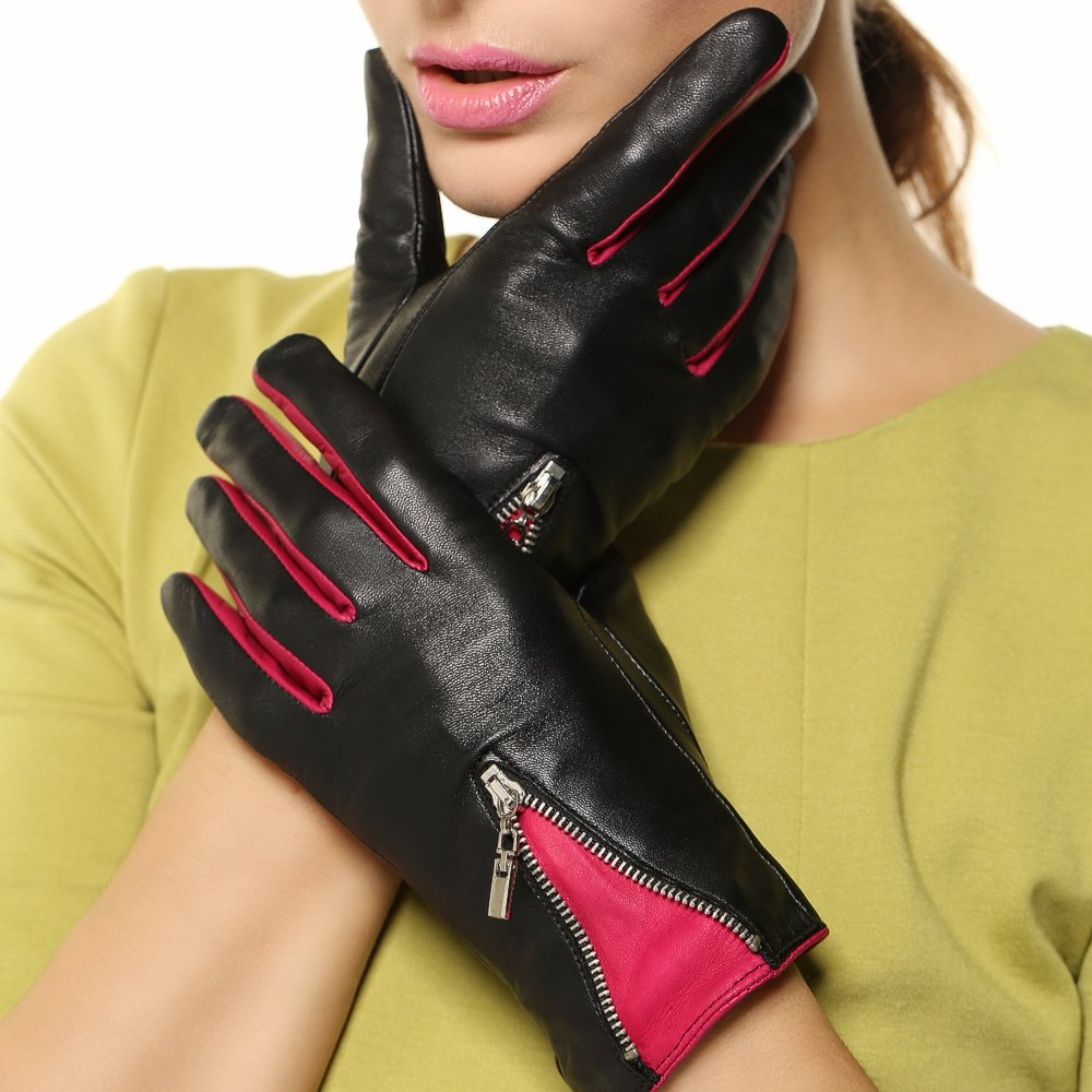 Warmen Women's Lambskin Genuine Leather Gloves Two Tone with Zip Decoration on Back (L, Black/Fuchsia)