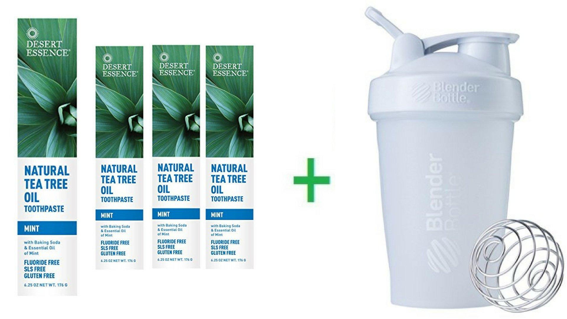 Desert Essence, Natural Tea Tree Oil Toothpaste, Mint, 6.25 oz (176 g) (4 Packs) + Sundesa, BlenderBottle, Classic With Loop, White, 20 oz