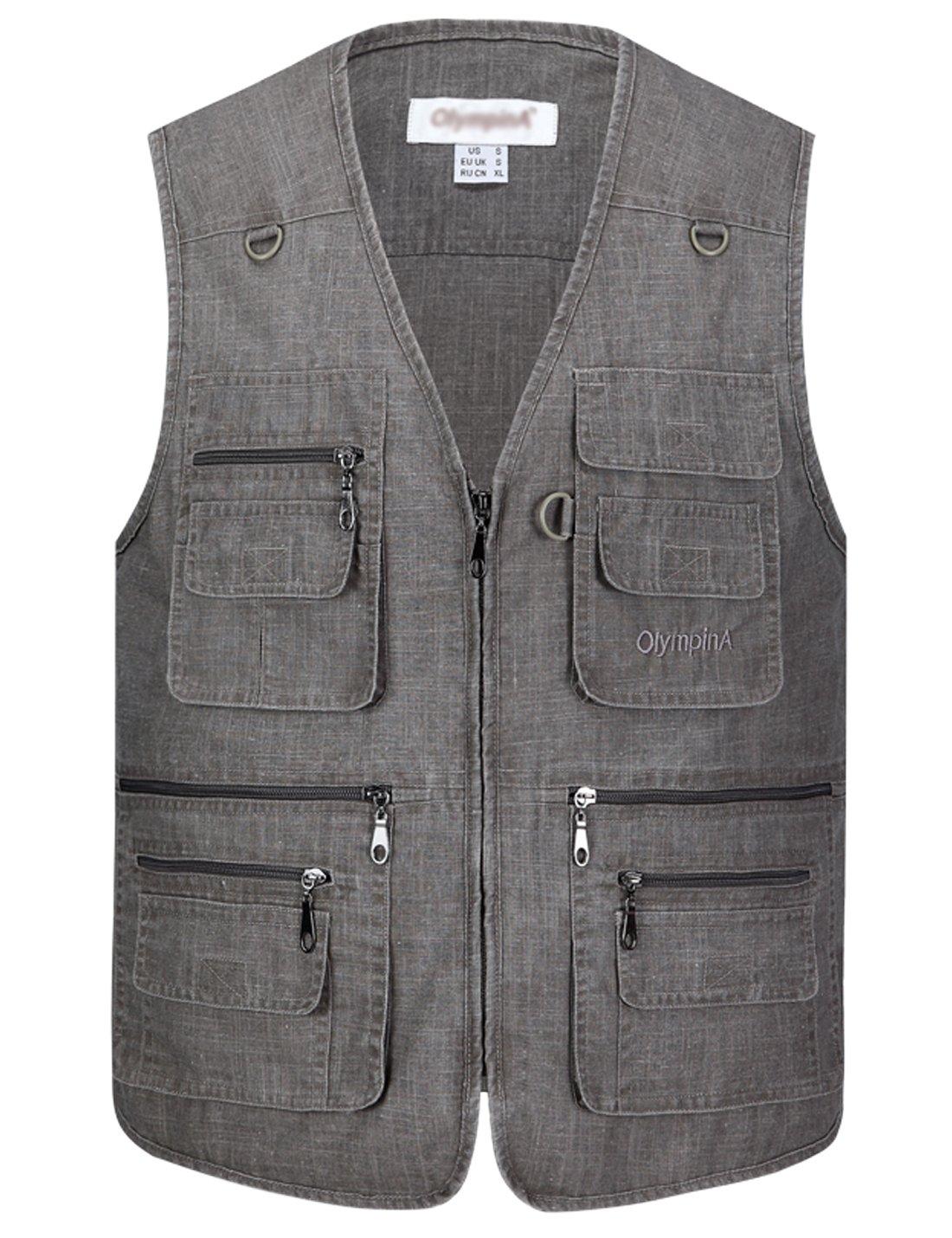Gihuo Men's Summer Leisure Outdoor Pockets Fish Photo Journalist Vest Plus Size (Medium, Grey#2)