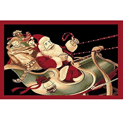 christmas rug holiday dcor santa on sled area rug 3ft4in x 4ft6in - Christmas Sled