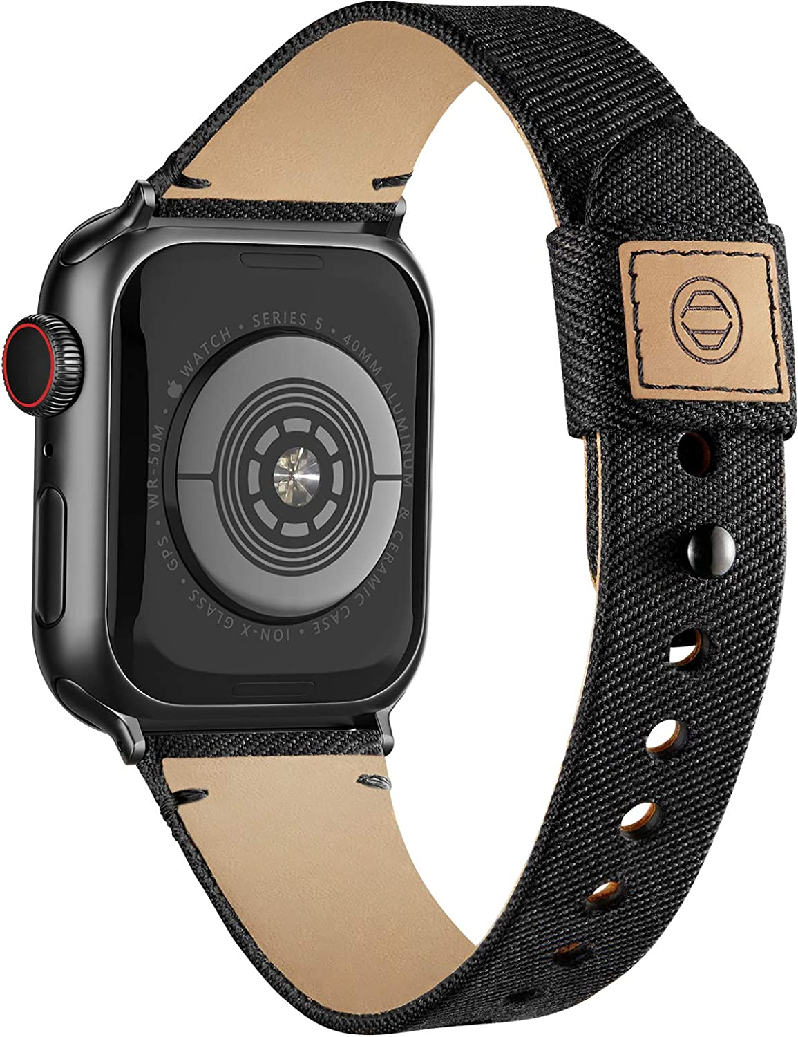 Compatible with Apple Watch Band 38mm 40mm 42mm 44mm for Women Men, Slim Fabric Canvas Band with Soft Leather Lining and Snap Button for Apple Watch Series 6/5/4/3/2/1 SE, Black 38/40mm