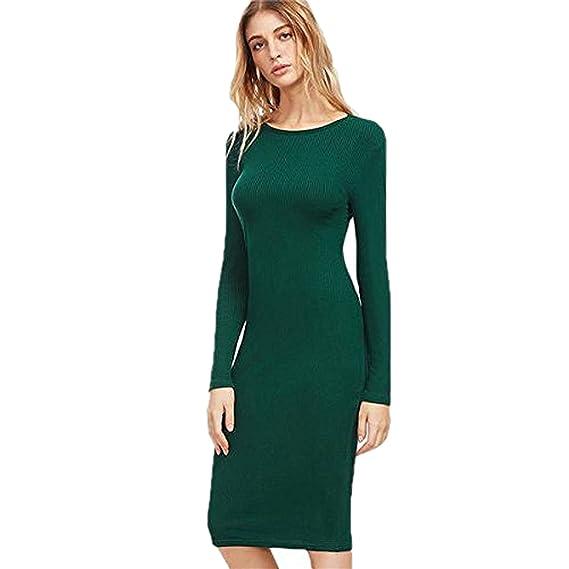 fb071bfd5308 FASHFAIR Women s Cotton Long Sleeve Ribbed Pencil Midi Elegant Autumn Dress  (Green
