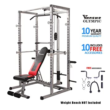 Vanswe - Estante de potencia con banco y tira de lágrima, sistema de entrenamiento para el gimnasio en casa: Amazon.es: Deportes y aire libre