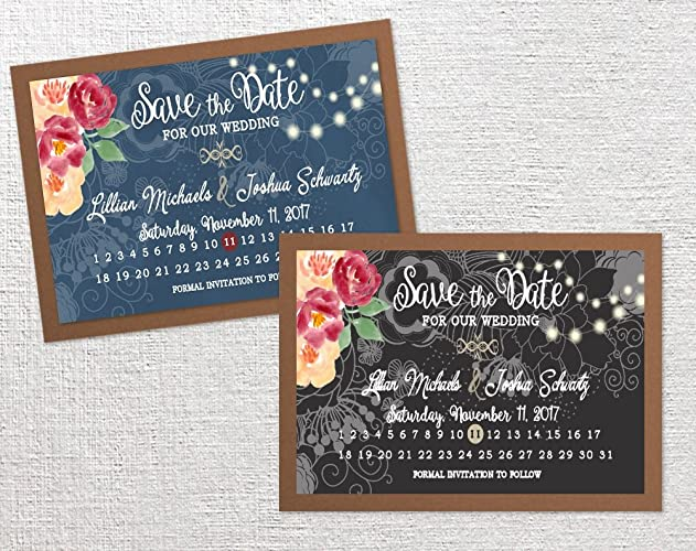 calendar save the date cards wedding bridal shower anniversary quinceanera save the