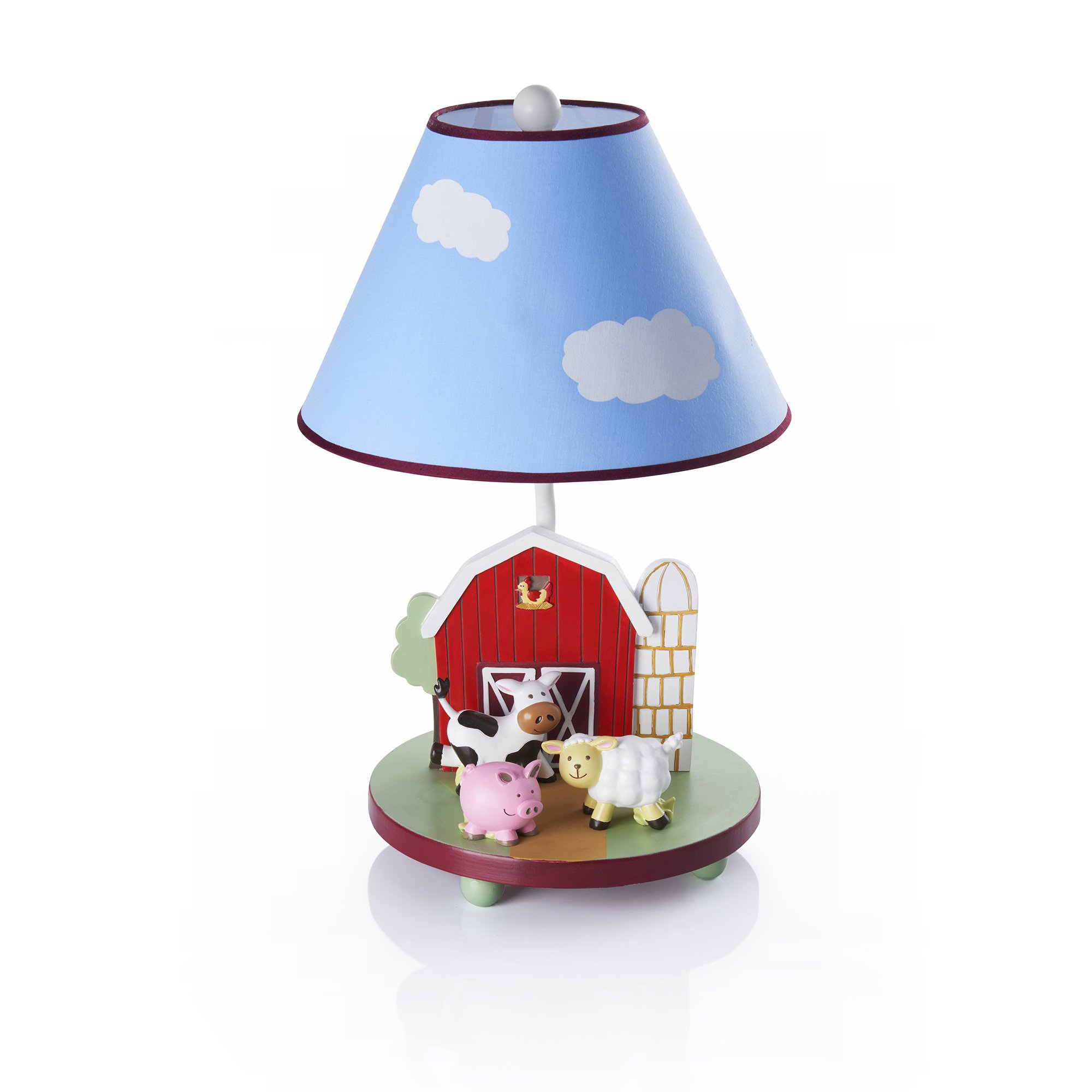 Guidecraft Hand-painted & Hand Crafted Farm Friends Kids Table Lamp G86707