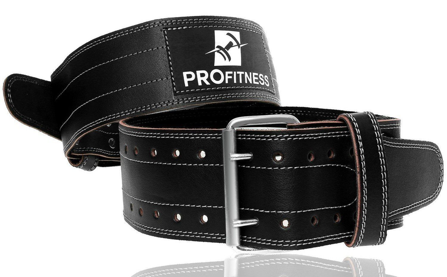 ProFitness Genuine Leather Workout Belt (4 Inches Wide) - Proper Weight Lifting Form - Lower Back Support for Squats, Deadlifts, (Black/White, X-Large 42''-49'' (Waist Size not Pant Size))
