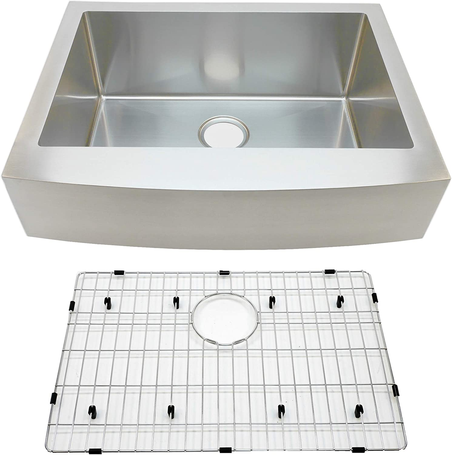 Auric Sinks 30 Farmhouse Curved Retro-Fit Front Apron Single Bowl Sink, Premium Stainless Steel, SCAR-16-30-retro SGL