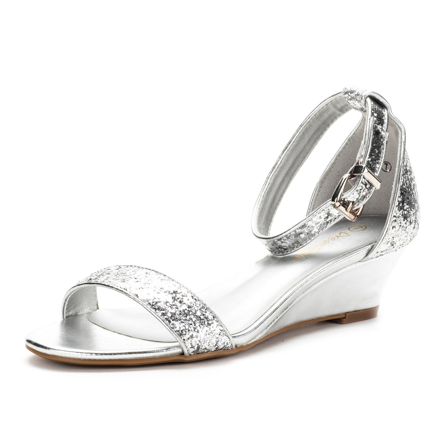 0d08a1511b77f DREAM PAIRS Women's Ingrid Silver Glitter Ankle Strap Low Wedge Sandals  Size 8.5 M US by