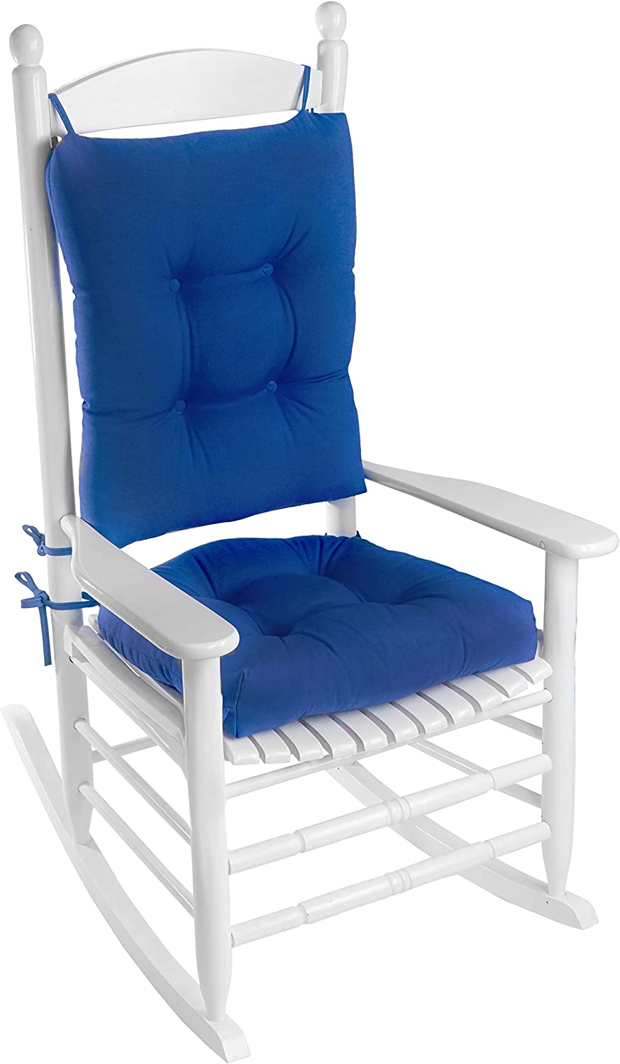 Klear Vu Indoor Outdoor Rocking Chair Pad Set, Cushion seat Measures 19L x 18.5W x 3H, and Back Measures 20.5L x 18W x 3H, Blue