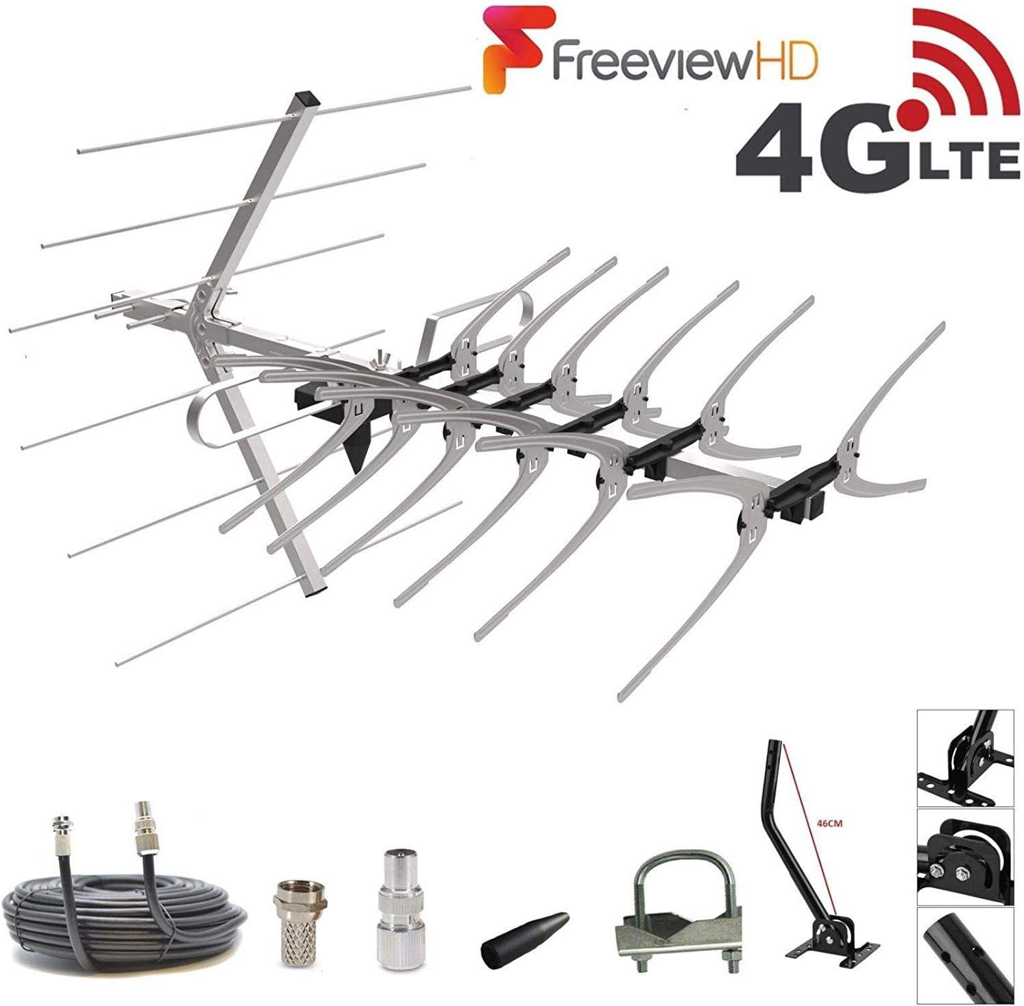 Antena de TV digital con filtro SSL 4G de 36 elementos para TV digital Freeview HD
