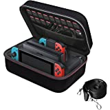 Nintendo Switch Game Traveler Deluxe Storage Case,iVoler Portable Nintendo Switch Carrying-All Protective Hard Messenger Bag Soft Lining 18 Games for Switch Console Pro Controller &Accessories Black