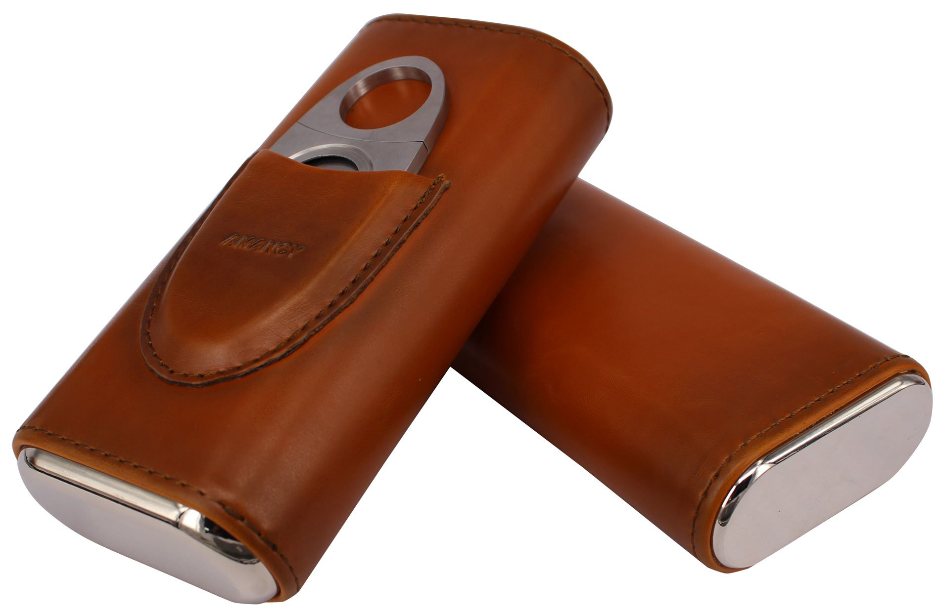 AMANCY Top Quality 3- Finger Brown Leather Cigar Case, Cedar Wood Lined Cigar Humidor with Silver Stainless Steel Cutter by AMANCY (Image #4)